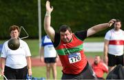 18 August 2018; John Leahy of Kilmurray/Ibrick/North Clare A.C., M40, competing in the Hammer event during the Irish Life Health National Track & Field Masters Championships at Tullamore Harriers Stadium in Offaly. Photo by Piaras Ó Mídheach/Sportsfile