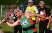 18 August 2018; Martin Peyton of Mayo A.C., M65, competing in the Javelin event during the Irish Life Health National Track & Field Masters Championships at Tullamore Harriers Stadium in Offaly. Photo by Piaras Ó Mídheach/Sportsfile