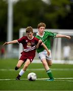 18 August 2018; Steven Jennings of Clarinbridge, Co. Galway, in action against Cormac Flynn of Clonguish, Co. Longford, competing in the Soccer Outdoor U12 Final event during day one of the Aldi Community Games August Festival at the University of Limerick in Limerick. Photo by Harry Murphy/Sportsfile