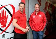 18 August 2018; Ulster Director of Operations Bryn Cunningham, left, and Gloucester Director Of Rugby David Humphreys, prior to the Pre-Season Friendly match Ulster and Gloucester at the Kingspan Stadium in Antrim. Photo by John Dickson/Sportsfile