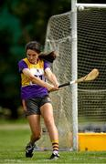 18 August 2018; Aoibhínn Mernagh of Piercestown - Murrinstown, Co. Wexford, competing in the Long Puck U14 event during day one of the Aldi Community Games August Festival at the University of Limerick in Limerick. Photo by Harry Murphy/Sportsfile