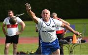 18 August 2018; Joe Kelly of Brow Rangers A.C., Co Kilkenny, M50, competing in the Weight for Distance event during the Irish Life Health National Track & Field Masters Championships at Tullamore Harriers Stadium in Offaly. Photo by Piaras Ó Mídheach/Sportsfile