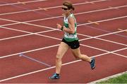 18 August 2018; Evelyn Cashman of Youghal A.C., Co Cork, W45, competing in the 1500m event during the Irish Life Health National Track & Field Masters Championships at Tullamore Harriers Stadium in Offaly. Photo by Piaras Ó Mídheach/Sportsfile