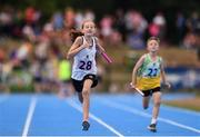 18 August 2018; Hannah McNicholas of Coolera, Co.Sligo, competing in the Relay 4x100m U10 Mixed event during day one of the Aldi Community Games August Festival at the University of Limerick in Limerick. Photo by Sam Barnes/Sportsfile