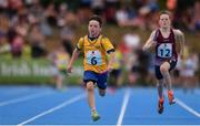 18 August 2018; Darren Moroney of Ennis St Johns, Co.Clare, competing in the Relay 4x100m U12 & O10 Boys event during day one of the Aldi Community Games August Festival at the University of Limerick in Limerick. Photo by Sam Barnes/Sportsfile