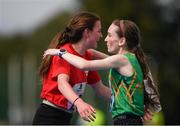18 August 2018; Niamh Carolan of Kinlough, Co. Leitrim, right, is congratulated by Maeve O'Neill of Enniskeane, Co. Cork, after winning the 1500m U16 & O14 Girls event during day one of the Aldi Community Games August Festival at the University of Limerick in Limerick. Photo by Sam Barnes/Sportsfile