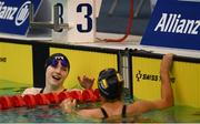 18 August 2018; Toni Shaw of Great Britain, left, is congratulated by Nuria Marques Soto after winning the final of the Women's 400m Freestyle S9 event during day six of the World Para Swimming Allianz European Championships at the Sport Ireland National Aquatic Centre in Blanchardstown, Dublin. Photo by David Fitzgerald/Sportsfile