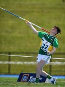 18 August 2018;Conor Beirne of Ferbane, Co. Offaly, competing in the Javelin U14 event during day one of the Aldi Community Games August Festival at the University of Limerick in Limerick. Photo by Harry Murphy/Sportsfile
