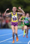 18 August 2018; Holly Kilroe of Kilteevan, Co. Roscommon,  reacts after competing in the 800m U14 & O12 Girls event during day one of the Aldi Community Games August Festival at the University of Limerick in Limerick. Photo by Sam Barnes/Sportsfile