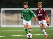 18 August 2018; Cian McConnell of St Patricks, Co. Cavan, left, in action against Darragh Ball of Doora Barefield, Co. Clare, during the Soccer Outdoor U12 & O8 Boys event during day one of the Aldi Community Games August Festival at the University of Limerick in Limerick. Photo by Sam Barnes/Sportsfile