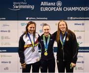18 August 2018; Medallists in the Women's 400m Freestyle S9 event, from left, silver medallist Nuria Marques Soto of Spain, gold medallist Toni Shaw of Great Britain, and bronze medallist Zsofia Konkoly of Hungary, during day six of the World Para Swimming Allianz European Championships at the Sport Ireland National Aquatic Centre in Blanchardstown, Dublin. Photo by David Fitzgerald/Sportsfile