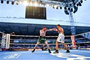 18 August 2018; Paddy Barnes, left, in action against Cristofer Rosales during their WBO World Flyweight Title bout during their WBO World Flyweight Title bout at Windsor Park in Belfast. Photo by Ramsey Cardy/Sportsfile