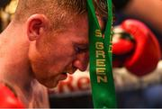 18 August 2018; Paddy Barnes following his defeat in his WBO World Flyweight Title bout against Cristofer Rosales at Windsor Park in Belfast. Photo by Ramsey Cardy/Sportsfile