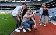 18 August 2018; John, Angela, Sean and Daniel Linehan from Drom Tairbh in Rathcoole, Cork, pictured here with Littlewoods Ireland ambassadors Jackie Tyrrell and Seamus Harnedy enjoying the Littlewoods Ireland Ultimate Croke Park Sleepover. The Linehan family won the experience of a lifetime: to wake up in Croke Park on the morning of the All-Ireland Hurling Final in a luxury suite decorated with Littlewoods Ireland homeware, electrical and fashion products worth €15,000 – theirs to take home – plus VIP tickets to the All-Ireland Hurling Final. Photo by Brendan Moran/Sportsfile