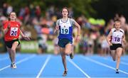 18 August 2018; Eabha Carolan of Cuchulainns, Co.Cavan, competing in the 100m U14 & O12 Girls event during day one of the Aldi Community Games August Festival at the University of Limerick in Limerick. Photo by Sam Barnes/Sportsfile