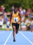 18 August 2018; David Utuke of Ennis St Johns, Co. Clare, competing in the 100m U16 & O14 Boys event during day one of the Aldi Community Games August Festival at the University of Limerick in Limerick. Photo by Sam Barnes/Sportsfile