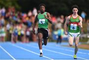 18 August 2018; Jeff Okwuegbe of Caherdavin, Co. Limerick, competing in the 100m U16 & O14 Boys event during day one of the Aldi Community Games August Festival at the University of Limerick in Limerick. Photo by Sam Barnes/Sportsfile