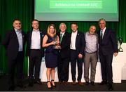 17 August 2018; Members of Ashbourne United AFC, from left, Donal Murphy, Dermot Lambe, Michelle Byas, Mark Ronan, Damien Jamison receive the Services to Football Club Merit award from FAI President Tony Fitzgerald and John Delaney, CEO, Football Association of Ireland, at the FAI Delegates Dinner & FAI Communications Awards at the Rochestown Park Hotel in Cork. Photo by Stephen McCarthy/Sportsfile