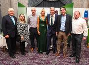 17 August 2018; John Delaney, CEO, Football Association of Ireland, his partner Emma English and Denis O'Brien with attendees from the Broadford United club in Limerick at the FAI Delegates Dinner & FAI Communications Awards at the Rochestown Park Hotel in Cork. Photo by Stephen McCarthy/Sportsfile