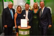 17 August 2018; John Delaney, CEO, Football Association of Ireland, his partner Emma English and Denis O'Brien with Michelle Byas and Mark Ronan of Ashbourne United AFC of Meath at the FAI Delegates Dinner & FAI Communications Awards at the Rochestown Park Hotel in Cork. Photo by Stephen McCarthy/Sportsfile
