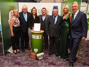 17 August 2018; John Delaney, CEO, Football Association of Ireland, his partner Emma English and Denis O'Brien with attendees from Colga FC in Galway at the FAI Delegates Dinner & FAI Communications Awards at the Rochestown Park Hotel in Cork. Photo by Stephen McCarthy/Sportsfile
