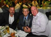 17 August 2018; Attendees, from left, Stuart Masterson, Willie McGuirk, who received a John Sherlock Services to Football Award, and Michael McDonald at the FAI Delegates Dinner & FAI Communications Awards at the Rochestown Park Hotel in Cork. Photo by Stephen McCarthy/Sportsfile