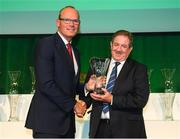 17 August 2018; Ger Stanton of Everton AFC, Cork, receives his John Sherlock Services to Football Award from An Tánaiste Simon Coveney TD at the FAI Delegates Dinner & FAI Communications Awards at the Rochestown Park Hotel in Cork. Photo by Stephen McCarthy/Sportsfile