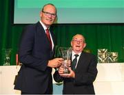 17 August 2018; John Delea of Rockmount AFC, Cork, receives his John Sherlock Services to Football Award from An Tánaiste Simon Coveney TD at the FAI Delegates Dinner & FAI Communications Awards at the Rochestown Park Hotel in Cork. Photo by Stephen McCarthy/Sportsfile