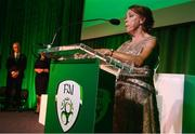 17 August 2018; Rose McAllorum announces the Noel O'Reilly Coach of the Year Award recipient during the FAI Delegates Dinner & FAI Communications Awards at the Rochestown Park Hotel in Cork. Photo by Stephen McCarthy/Sportsfile
