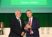 17 August 2018; Ciaran Collins of Fern Celtic FC, Clare, receives his John Sherlock Services to Football Award from FAI President Tony Fitzgerald at the FAI Delegates Dinner & FAI Communications Awards at the Rochestown Park Hotel in Cork. Photo by Stephen McCarthy/Sportsfile