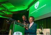 17 August 2018; Paddy Melia after accepting a John Sherlock Services to Football Award on behalf of the late Adrian Melia, Kildare sports photographer, at the FAI Delegates Dinner & FAI Communications Awards at the Rochestown Park Hotel in Cork. Photo by Stephen McCarthy/Sportsfile