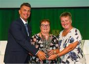 17 August 2018; Geraldine O'Donnell, Limerick Ladies League, receives the Jeremy Dee Services to Women's Football Award from Republic of Ireland Women's National Team manager Colin Bell and FAI Board Member Niamh O'Donoghue, Chairperson of the Women's Football Committee, at the FAI Delegates Dinner & FAI Communications Awards at the Rochestown Park Hotel in Cork. Photo by Stephen McCarthy/Sportsfile