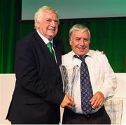 17 August 2018; Donnie Harmon of Kilnamanagh FC, Dublin, receives his John Sherlock Services to Football Award from FAI President Tony Fitzgerald at the FAI Delegates Dinner & FAI Communications Awards at the Rochestown Park Hotel in Cork. Photo by Stephen McCarthy/Sportsfile