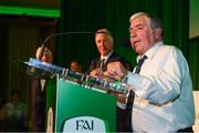 17 August 2018; Donnie Harmon of Kilnamanagh FC, Dublin, makes a speech after receiving his John Sherlock Services to Football Award at the FAI Delegates Dinner & FAI Communications Awards at the Rochestown Park Hotel in Cork. Photo by Stephen McCarthy/Sportsfile