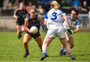 19 August 2018; Niamh Lonergan of Tipperary in action against Sinead Greene of Cavan during the 2018 TG4 All-Ireland Ladies Senior Football Championship relegation play-off match between Cavan and Galway at Dolan Park in Cavan. Photo by Oliver McVeigh/Sportsfile