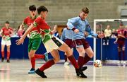 19 August 2018; Conor Harte of Graiguecullen, Co. Carlow, left, in action against Harry Long of Caherdavin, Co. Limerick, during the Futsal U15 & O12 Boys event during day two of the Aldi Community Games August Festival at the University of Limerick in Limerick. Photo by Sam Barnes/Sportsfile