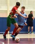 19 August 2018; Daniel Core of Graiguecullen, Co. Carlow, left, in action against Harry Long of Caherdavin, Co. Limerick, during the Futsal U15 & O12 Boys event during day two of the Aldi Community Games August Festival at the University of Limerick in Limerick. Photo by Sam Barnes/Sportsfile