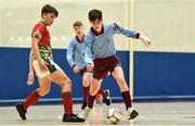 19 August 2018; Mark Moloney of Caherdavin, Co. Limerick, right, in action against Conor Harte of Graiguecullen, Co. Carlow, during the Futsal U15 & O12 Boys event during day two of the Aldi Community Games August Festival at the University of Limerick in Limerick. Photo by Sam Barnes/Sportsfile