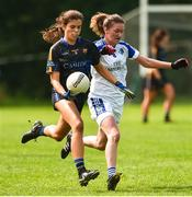 19 August 2018; Anna Rose Kennedy of Tipperary in action against Ailish Cornyn of Cavan during the 2018 TG4 All-Ireland Ladies Senior Football Championship relegation play-off match between Cavan and Galway at Dolan Park in Cavan. Photo by Oliver McVeigh/Sportsfile