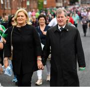 19 August 2018; Businessman JP McManus and wife Noreen arrive for the GAA Hurling All-Ireland Senior Championship Final between Galway and Limerick at Croke Park in Dublin. Photo by Stephen McCarthy/Sportsfile