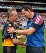 19 August 2018; Kilkenny manager Richie Mulrooney, left, with Galway manager Jeffrey Lynskey following the Electric Ireland GAA Hurling All-Ireland Minor Championship Final match between Kilkenny and Galway at Croke Park in Dublin. Photo by Seb Daly/Sportsfile