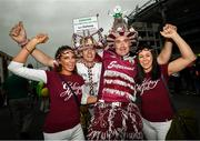 19 August 2018; Galway supporters Sophie, left, and Charlene Small, from Castlegar, Co Galway, with Melvin Smith and Philip Coleman, right, prior to the GAA Hurling All-Ireland Senior Championship Final between Galway and Limerick at Croke Park in Dublin. Photo by Stephen McCarthy/Sportsfile