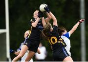 19 August 2018; Aishling Moloney, left, and Emma Buckley of Tipperary in action against Sinead Greene of Cavan during the 2018 TG4 All-Ireland Ladies Senior Football Championship relegation play-off match between Cavan and Galway at Dolan Park in Cavan. Photo by Oliver McVeigh/Sportsfile