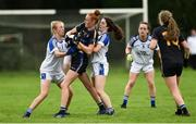 19 August 2018; Aishling Moloney of Tipperary in action against Sinead O'Sullivan and Lauren McVeety of Cavan during the 2018 TG4 All-Ireland Ladies Senior Football Championship relegation play-off match between Cavan and Galway at Dolan Park in Cavan. Photo by Oliver McVeigh/Sportsfile
