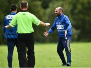 19 August 2018; Tipperary manager Shane Ronayne reacts to a referee's decison during the 2018 TG4 All-Ireland Ladies Senior Football Championship relegation play-off match between Cavan and Galway at Dolan Park in Cavan. Photo by Oliver McVeigh/Sportsfile