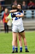 19 August 2018; Aisling Gilsenan and Rachael Doonan of Cavan celebrate after the 2018 TG4 All-Ireland Ladies Senior Football Championship relegation play-off match between Cavan and Galway at Dolan Park in Cavan. Photo by Oliver McVeigh/Sportsfile