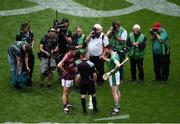 19 August 2018; Galway captain David Burke and Limerick captain Declan Hannon with referee James Owens ahead of the GAA Hurling All-Ireland Senior Championship Final match between Galway and Limerick at Croke Park in Dublin. Photo by Daire Brennan/Sportsfile