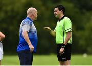 19 August 2018; Referee John Gallagher sending Cavan Manager James Daly to the sideline during the 2018 TG4 All-Ireland Ladies Senior Football Championship relegation play-off match between Cavan and Galway at Dolan Park in Cavan. Photo by Oliver McVeigh/Sportsfile