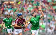 19 August 2018; Darragh O'Donovan of Limerick in action against Johnny Coen of Galway during the GAA Hurling All-Ireland Senior Championslhip Final match between Galway and Limerick at Croke Park in Dublin.  Photo by Ramsey Cardy/Sportsfile