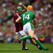 19 August 2018; David Burke of Galway in action against Séamus Flanagan of Limerick during the GAA Hurling All-Ireland Senior Championship Final match between Galway and Limerick at Croke Park in Dublin. Photo by Seb Daly/Sportsfile